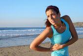 Athlete suffering side kidney pain — Stock Photo