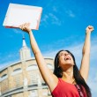 Successful student raising arms — Stock Photo #43973599