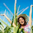 Female agriculture farmer success — Stock Photo