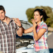 Couple problems on car road trip — Stock Photo