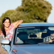 Couple enjoy freedom on car travel — Stock Photo