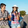 Couple on summer car trip — Stock Photo
