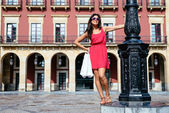 Woman enjoying shopping travel to Spain — Stock Photo