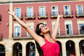 Blissful woman on vacation in spain — Stock Photo
