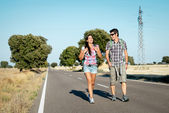 Couple on hiking summer travel — Stock Photo