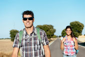 Couple on trekking travel in spain — Stock Photo