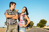 Young couple on hiking travel — Stock Photo