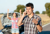 Car road travel problems — Stock Photo