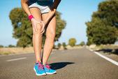 Runner training  knee pain — Stock Photo
