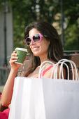 Woman shooping coffee break — Stock Photo