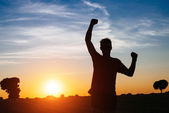Male runner success and win — Stock Photo