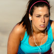 Female runner determination on training — Stock Photo #48871345