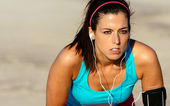 Female runner determination on training — Stock Photo