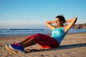 Fitness woman sit ups exercising — Foto de Stock