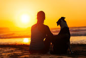 Woman and dog looking summer sun — Stock Photo