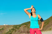 Exhausted female runner overtraining — Stock Photo