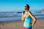 Exhausted female runner suffering angina pectoris — Stock Photo