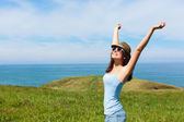 Woman enjoying freedom and travel — Stock Photo