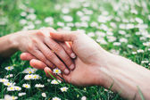 Romantic lovers touching hands on spring flowers — Stock Photo