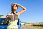 Woman on summer car travel vacation — Stock Photo