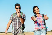 Couple on hiking summer travel in spain — Stock Photo