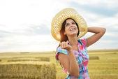 Female happy farmer success — Stock Photo