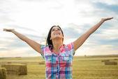 Joyful female farmer success — Stock Photo