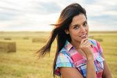 Confident pensive female farmer — Stock Photo