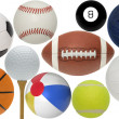 collection de boule de sport assortis — Photo