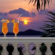 Drinks on a Tropical Balcony - Stock Photo