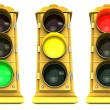 Downtown Stoplight 3 Pack - 图库照片