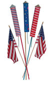 Fourth of July skyrockets and US flags — Stock Photo