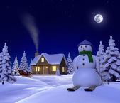 A christmas themed snow scene showing Snowman, Cabin and snow sleigh at night — Stock Photo