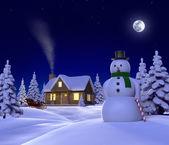 A christmas themed snow cene showing Snowman, Cabin and snow sleigh at night — Stock Photo