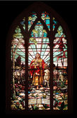 Stained glass window with Jesus — Stock Photo