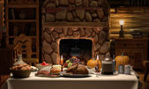 Thanksgving Cabin Dinner — Stock Photo