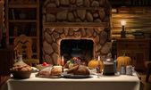 Thanksgving Cabin Dinner — Stock Photo