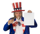 Uncle Sam Holding a Message — Stock Photo