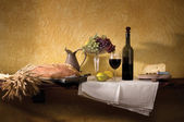 Wine Cheese & Bread Still Life — Stock Photo