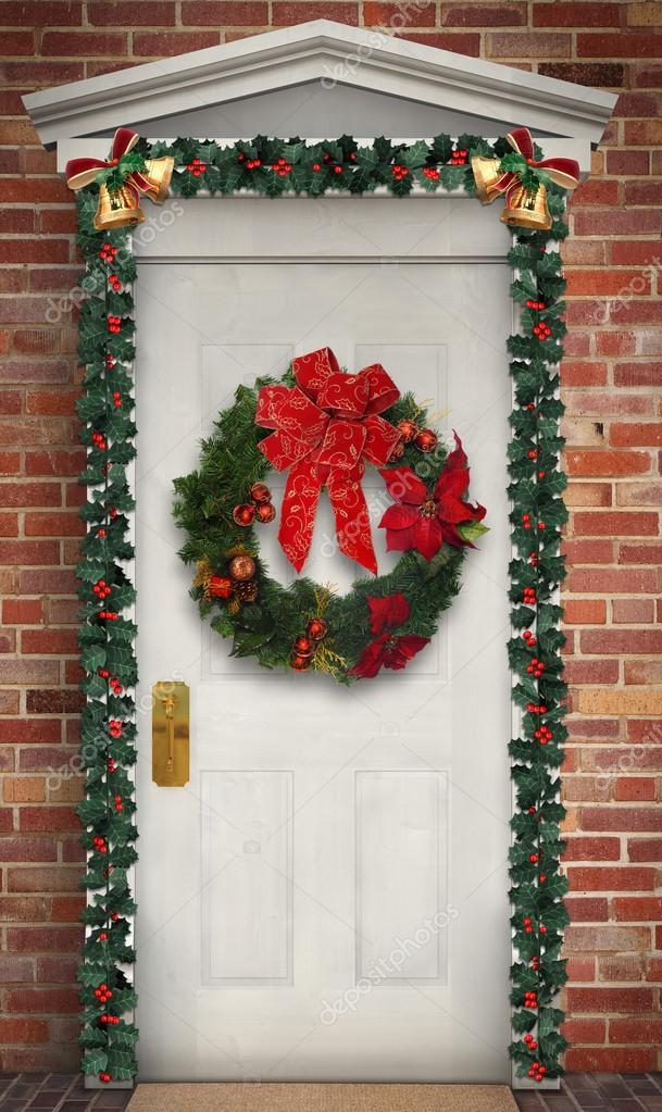 Фото новогодний венок на дверь своими руками