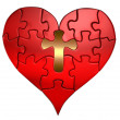 Heart and Cross Puzzle Orthographic — Stock Photo