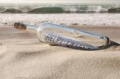 Help message in a bottle — Foto de Stock