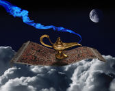 Aladdin lamp on the magic carpet — Stock Photo