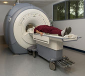 Patient about to enter a magnetic resonance imaging machine — Stock Photo