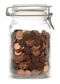 Jar of Pennies — Stock Photo