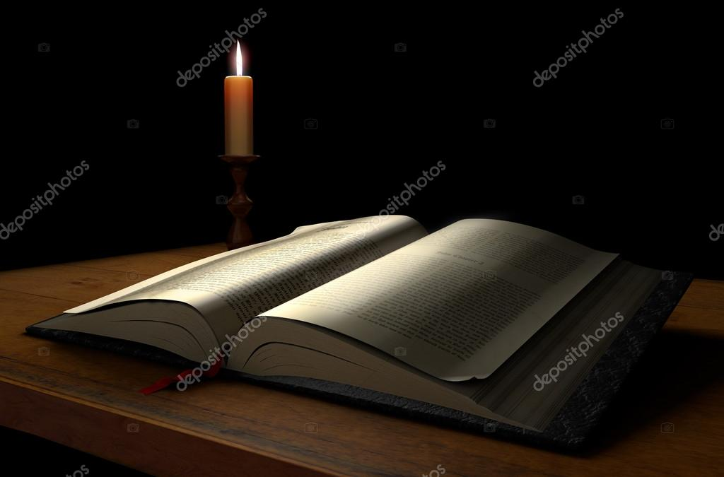 An open book on a dark background illuminated with a candle — Stock Photo #13471780