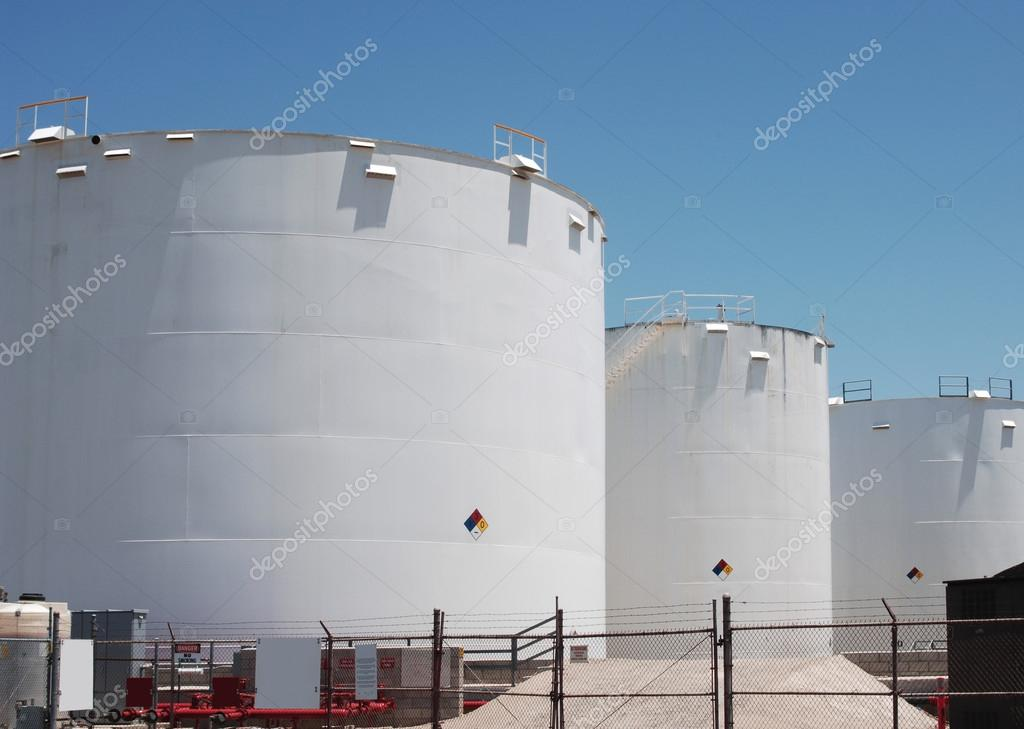 A photo of petroleum storage tanks  Stock Photo #13471968