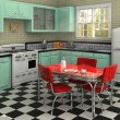 1950's Kitchen - Stock Photo