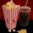 popcorn and movie — Stock Photo