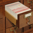 Card Catalog File Drawer — Stock Photo